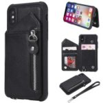 Multi-functional Shatter-resistant Zipper Wallet Leather Coated TPU Phone Case for iPhone XS / X 5.8 inch – Black