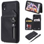 Shatter-resistant Zipper Kickstand Leather Mobile Case for iPhone XR 6.1 inch – Black
