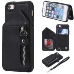 PU Leather Coated TPU Card Holder Phone Shell with Kickstand for iPhone 5s/5/SE – Black