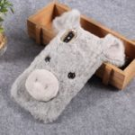3D Cute Pig Pattern Soft Fur Coated Rhinestone TPU Cover for iPhone XS / X – Light Grey