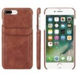 Dual Card Slots PU Leather Coated Hard PC Case for iPhone 6s Plus / 6 Plus 5.5-inch – Brown