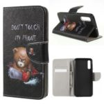 Pattern Printing Cross Texture PU Leather Wallet Flip Casing for Samsung Galaxy A50/A20/A30 – Brown Bear and Warning Words