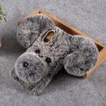 Dog Pattern Fluffy Fur Coated TPU Back Case for Samsung Galaxy A40 – Grey
