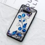 For Samsung Galaxy S10 Plus Lace Embossment Pattern PC TPU Hybrid Shell – Butterfly and Floret