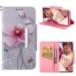 For Samsung Galaxy S10 Plus Patterned PU Leather Phone Case [Wallet / Stand / Lanyard] – Butterflies and Flowers
