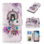 For Samsung Galaxy S10e Embossed Patterned Leather Wallet Flip Casing – Owl and Dream Catcher