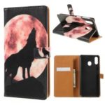Pattern Printing Leather Wallet Stand Case for Samsung Galaxy M20 – Wolf Howling at the Moon
