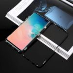 Magnetic Metal Frame + Tempered Glass Back Phone Case for Samsung Galaxy S10 Plus – Black