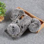Dog Pattern Fluffy Fur Coated TPU Case for Samsung Galaxy A50 – Grey