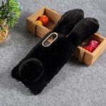 For Samsung Galaxy A50 Rabbit Shape Fluffy Fur Coated Rhinestone TPU Mobile Shell – Black
