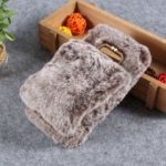 Soft Faux Fur Coated Rhinestone TPU Case for Samsung Galaxy S10e – Coffee