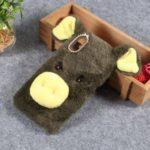 Cute 3D Pig Fluffy Fur Coated Rhinestone TPU Casing for Samsung Galaxy M10 – Army Green