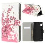 Pattern Printing PU Leather Cell Phone Casing for Samsung Galaxy A10 – Plum Blossom