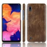 Litchi Texture PU Leather Coated PC Case for Samsung Galaxy A10 – Brown