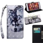 Pattern Printing Light Spot Decor Wallet Stand Leather Case for Samsung Galaxy A50 – Cute Dog