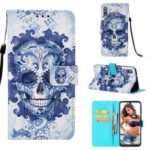 Pattern Printing Leather Wallet Case for Samsung Galaxy M30 – Flowered Skull