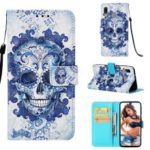 Pattern Printing PU Leather Wallet Case with Strap for Samsung Galaxy A40 – Blue Skull and Flowers