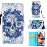 Pattern Printing Leather Wallet Case for Samsung Galaxy A50 – Flowered Skull