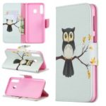 For Samsung Galaxy M30 Pattern Printing Leather Stand Wallet Flip Case – Owl on the Branch