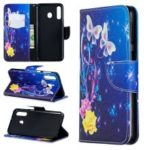 For Samsung Galaxy M30 Pattern Printing Leather Stand Wallet Flip Case – Roses and Butterflies