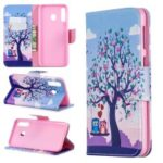 For Samsung Galaxy M30 Pattern Printing Leather Stand Wallet Flip Case – Tree and Owls