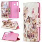 For Samsung Galaxy M30 Pattern Printing PU Leather Wallet Cell Phone Case – Cat and Flower