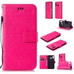 Imprinted Elephant PU Leather Wallet Phone Cover for Samsung Galaxy M20 – Rose