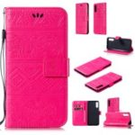 Imprinted Elephant PU Leather Wallet Phone Case for Samsung Galaxy A50 – Rose