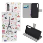 Pattern Printing Leather Wallet Case for Samsung Galaxy A70 – Eiffel Tower