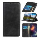 Auto-absorbed Split Leather Wallet Case for Samsung Galaxy A10 – Black