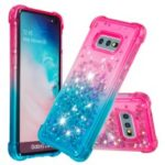 Gradient Glitter Powder Quicksand TPU Case Shell for Samsung Galaxy S10e – Rose / Cyan