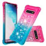 Anti-fall Quicksand TPU Phone Cover for Samsung S10 Plus – Rose / Baby Blue