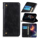 Crazy Horse Auto-absorbed Split Leather Wallet Phone Shell for Samsung Galaxy M20 – Black