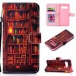 Pattern Printing Wallet Stand Leather Shell Case for Samsung Galaxy S10 Plus – Bookshelf