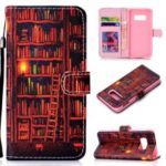 Patterned Leather Wallet Phone Flip Cover for Samsung Galaxy S10e – Bookshelf