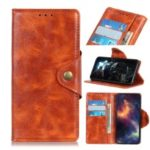 Textured PU Leather Wallet Stand Phone Case for Samsung Galaxy A60 – Orange