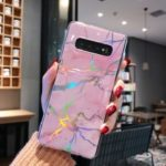 Laser Carving Marble Texture IMD TPU Mobile Case for Samsung Galaxy S10 Plus – Pink
