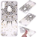 Glitter Sequins Inlaid Patterned TPU Phone Cover for Samsung Galaxy M30 – Black Flower