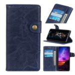 S Shape Crazy Horse Wallet Leather Stand Cover for Samsung Galaxy A2 Core – Blue