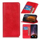 Auto-absorbed Crazy Horse Leather Wallet Stand Case for OnePlus 7 – Red