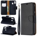 Litchi Texture Wallet Stand Protective Leather Cover for Samsung Galaxy M20 – Black