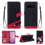 Contrast Color Litchi Texture PU Leather Wallet Phone Cover for Samsung Galaxy S10 – Black