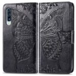 Imprint Butterfly Flower Leather Wallet Stand Phone Cover for Samsung Galaxy A70 – Black