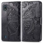 Imprint Butterfly Flower Leather Wallet Stand Phone Cover for Samsung Galaxy A10 – Black