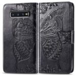 Imprint Butterfly Flower Leather Wallet Stand Phone Cover for Samsung Galaxy S10 Plus – Black