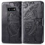 Imprint Butterfly Flower PU Leather Wallet Flip Case for Samsung Galaxy S10e – Black