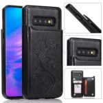 Imprint Card Holder PU Leather Coated TPU Case with Kickstand for Samsung Galaxy S10 Plus – Black