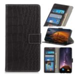 Crocodile Texture Leather Wallet Stand Case for LG K40 / K12 Plus – Black