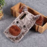 3D Cute Pig Pattern Soft Fur Coated Rhinestone TPU Phone Case for Huawei P30 – Coffee