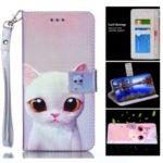 For Huawei P30 Laser Carving Patterned Leather Wallet Stand Cover – White Cat